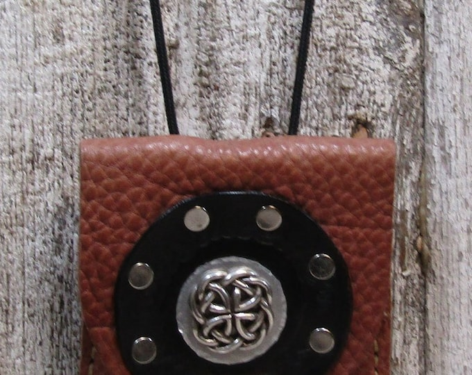Leather utility purse celtic circle and concho