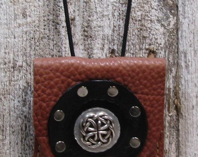 Leather utility purse celtic circle and concho