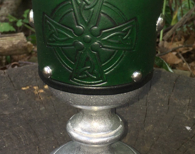 Statesmetal Goblet with Embossed Leather Celtic Cross