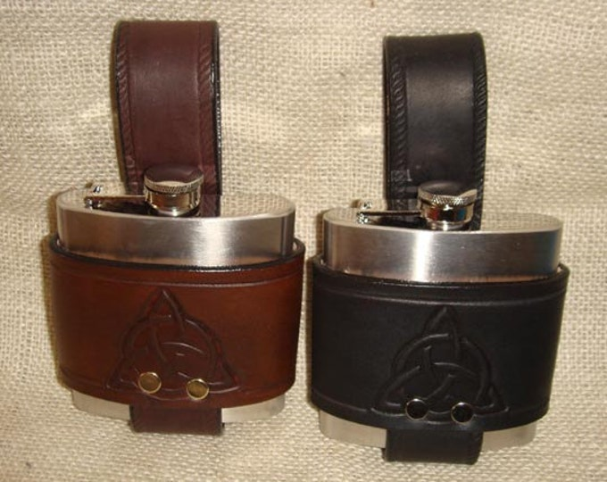 Hand Made Embossed Celtic 6 oz. Hip Flask leather whiskey stainless steel kilt belt triskel triskellion Irish Scottish garb rum