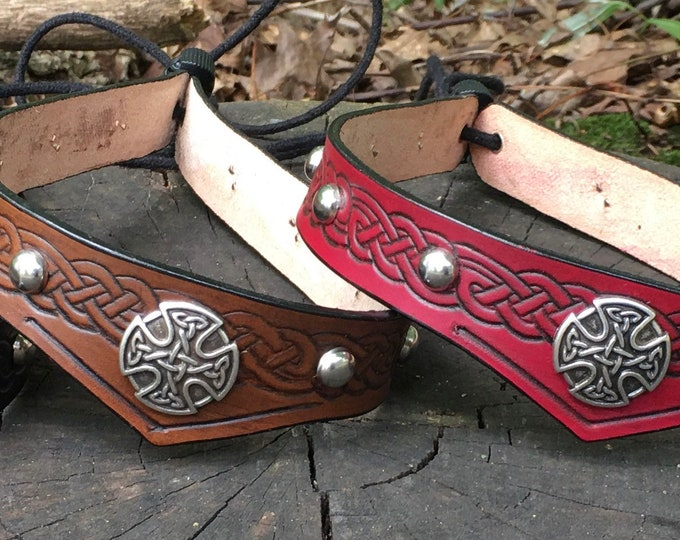 Leather celtic headbands studded