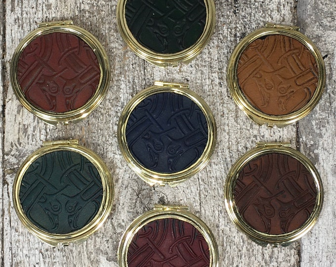 Metal and leather celtic compact mirrors