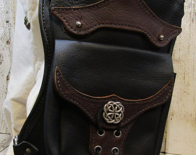 Leather hip / thigh bag, celtic knotwork
