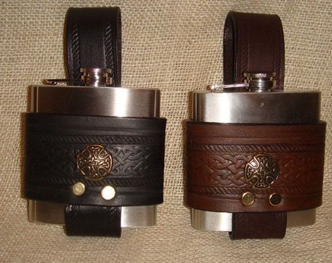 Hand Made Celtic leather hip flask 6 oz.  choice of color