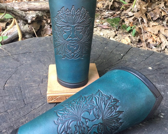 Green man Leather Bracers
