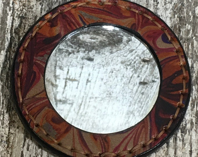 Pocket mirror marbled leather red/orange