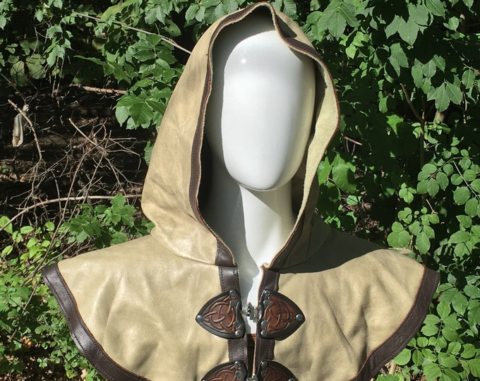 Pale green and brown Leather hooded mantle