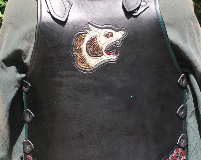 Tooled leather breastplate armor Celtic wolf and knotwork