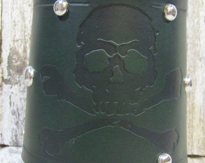 Skull and crossbones pirate leather wrapped metal tankard mug 36 oz