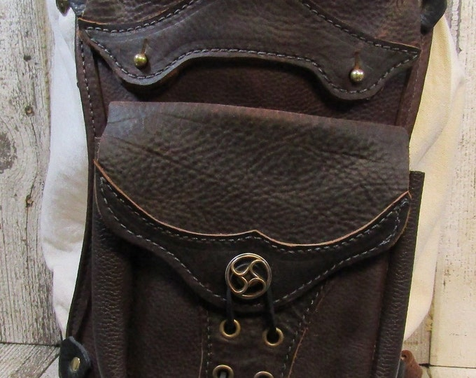 Leather hip / thigh bag, brown steampunk flywheel