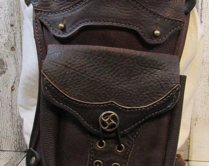 Leather hip / thigh bag, brown steampunk flywheel