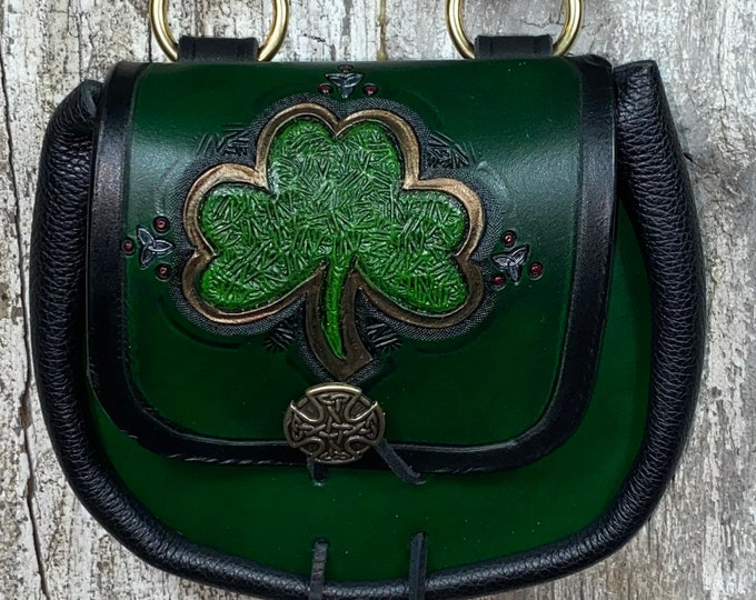 Celtic shamrock hand tooled sporran belt pouch leather