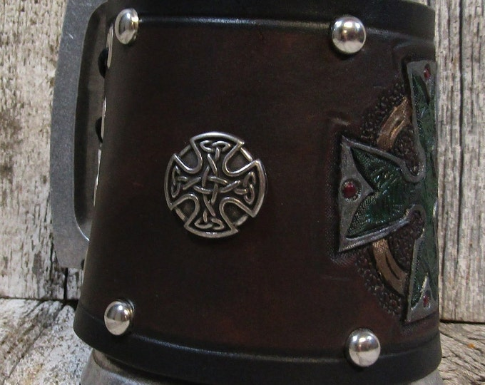 Hand tooled leather covered 16 oz tankard celtic cross