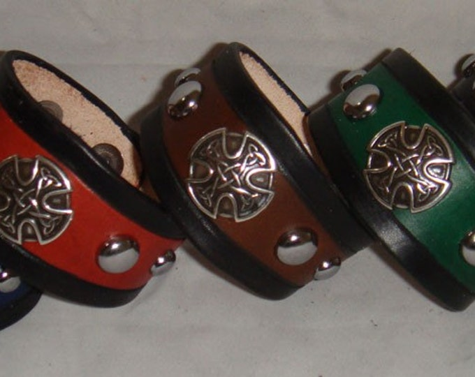 Leather Studded Celtic Medallion Bracelet