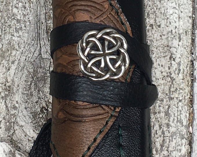 Leather hand stitched green artist roll with colored pencils celtic  drawing art