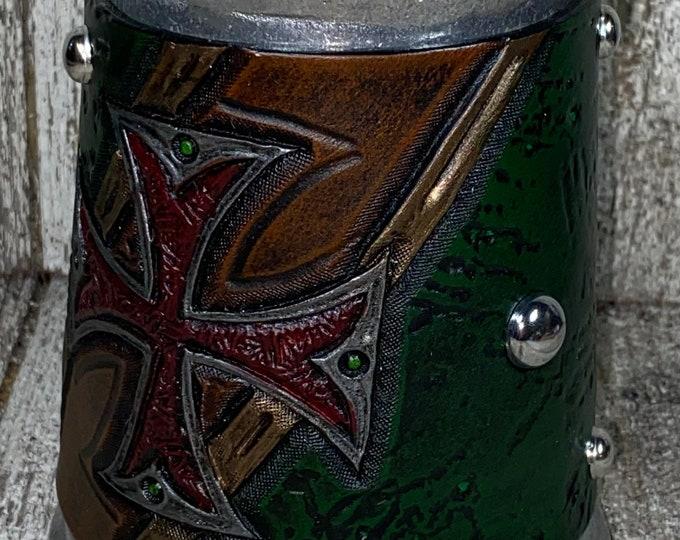 Hand tooled gothic cross mug 16oz