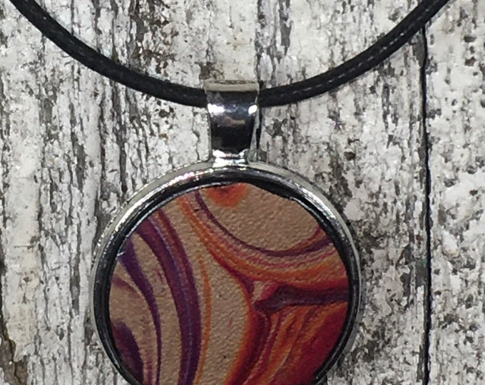 Marbled leather necklace silver