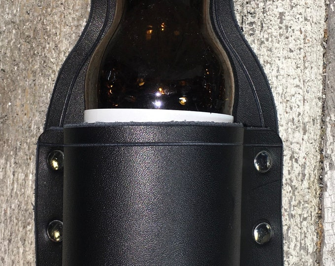 Leather belt beer holster celtic BBQ Tailgate