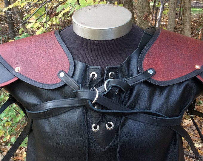 Pauldrons pair multi color leather armor sca larp