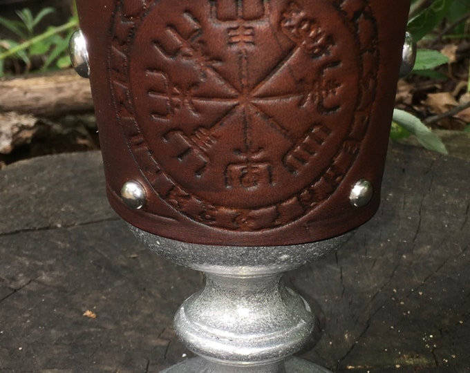 Statesmetal Goblet with Embossed Norse Viking Compass Vegvisir
