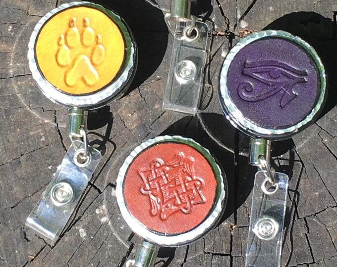 Badge reel tree design leather metal