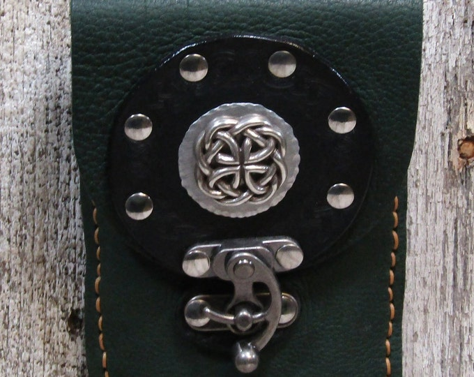 Leather utility purse/belt pouch celtic circle and concho