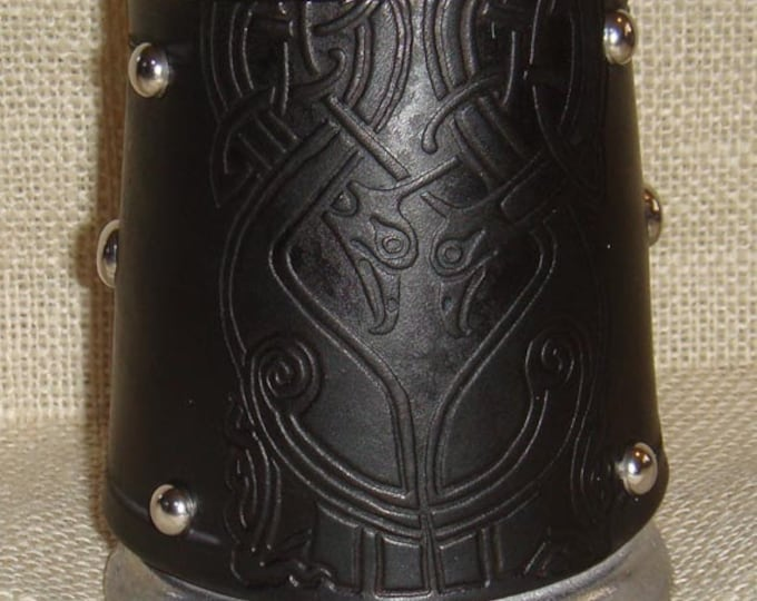 Small Statesmetal Mug with Leather Embossed Celtic Birds