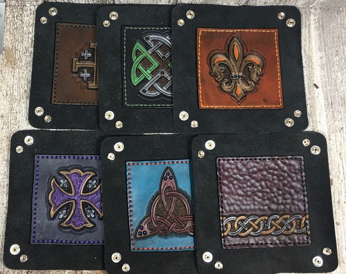 Hand tooled, hand painted dice catch-all trays