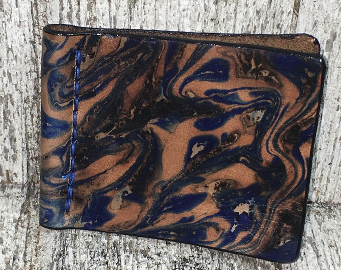 Leather spring style money clip marbled leather