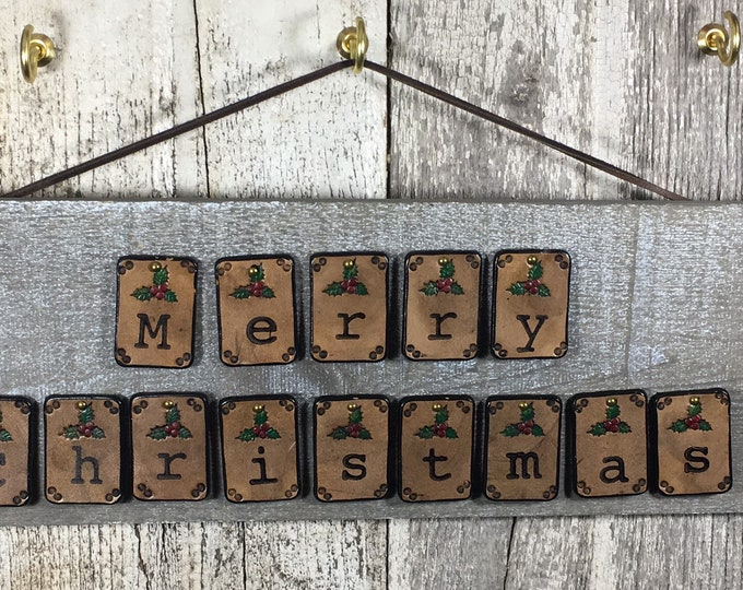Noel Christmas Holiday sign rustic leather