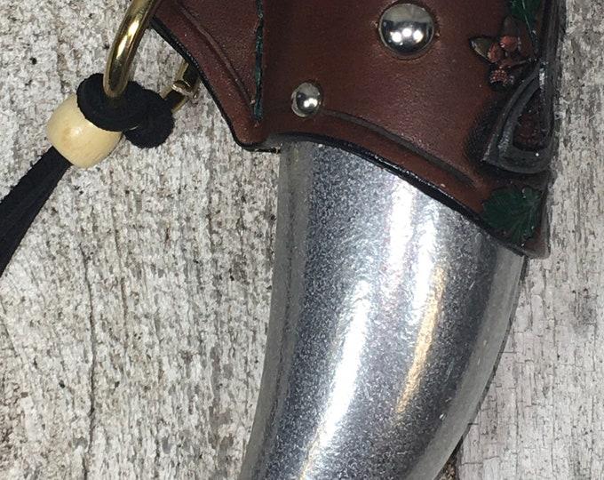 Hand tooled leather shot horn Celtic oak leaves