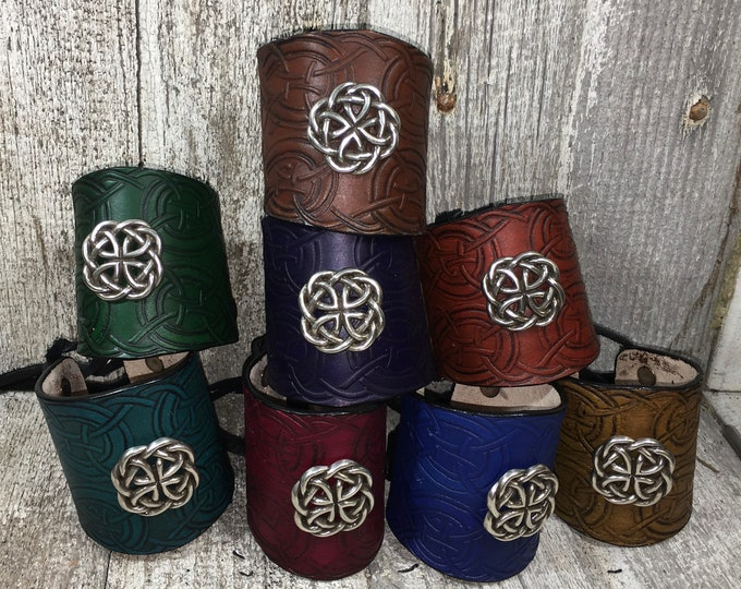 Wide single leather cuff bracelet celtic pirate