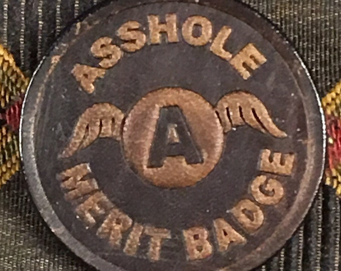 Adult leather merit badge pin