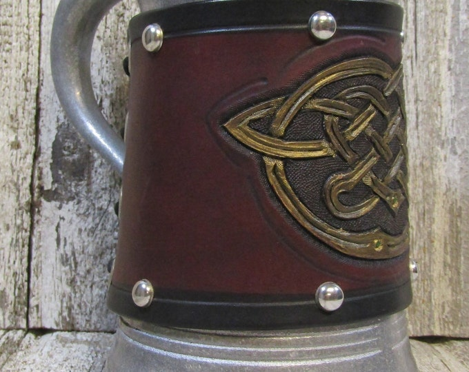 Hand tooled leather covered 36 oz tankard Celtic Knotwork
