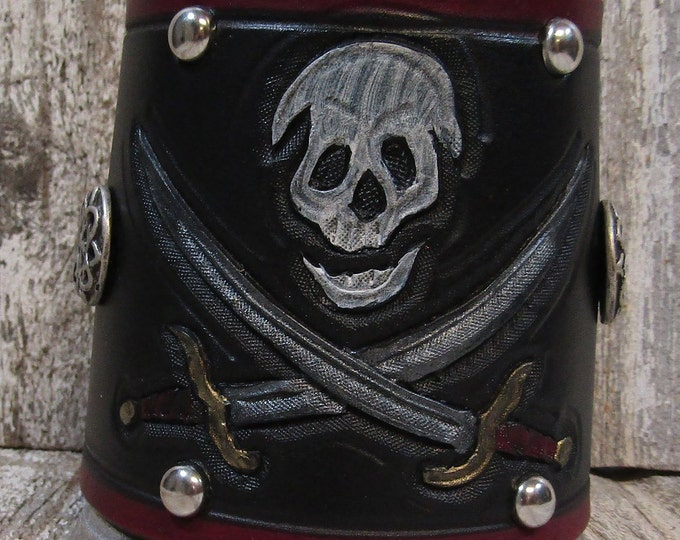 Hand tooled leather covered 16 oz tankard Pirate skull and crossed swords