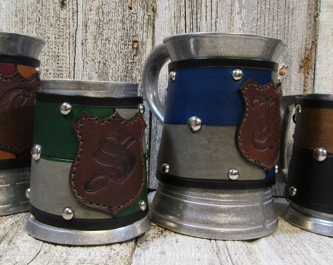 Wizard school House tankards colored with monogram