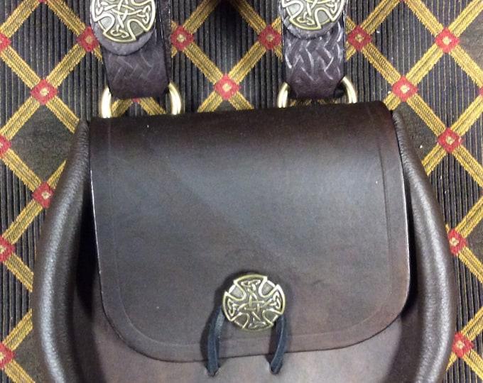 Leather celtic sporran belt pouch