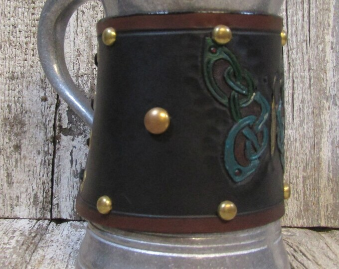 Hand tooled leather covered 36 oz tankard Celtic Butterfly
