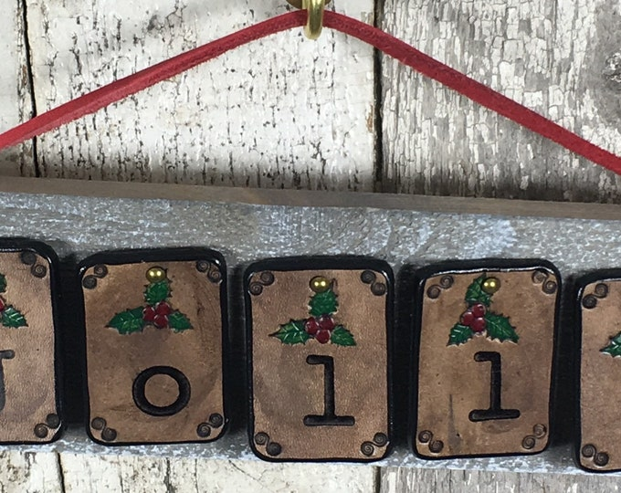 Jolly Christmas sign rustic leather