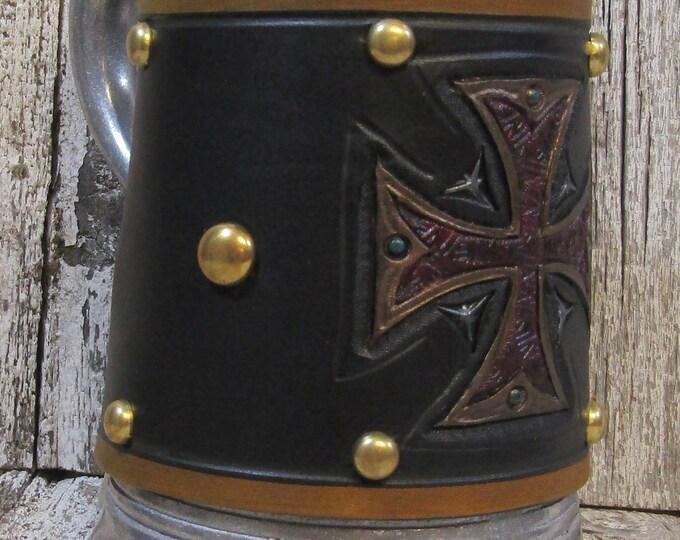 Hand tooled leather covered 36 oz tankard german english iron cross