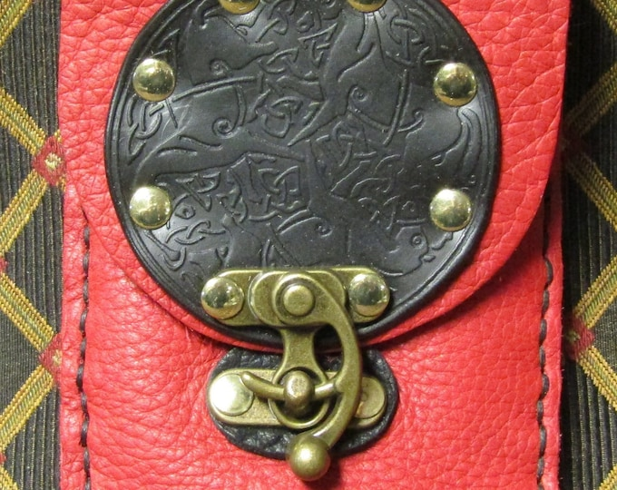 Leather utility belt pouch celtic horses Epona