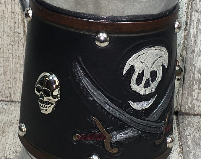 Hand tooled Leather Metal 36 oz tankard Pirate beer ale