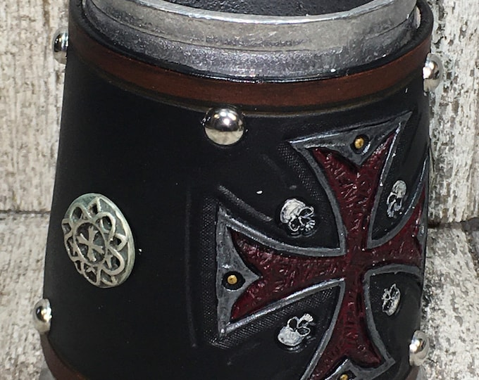 Hand tooled Leather Metal 16oz tankard gothic cross beer ale
