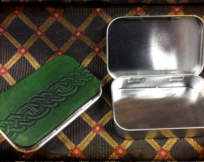 Metal Altoids-type tin celtic embossed leather