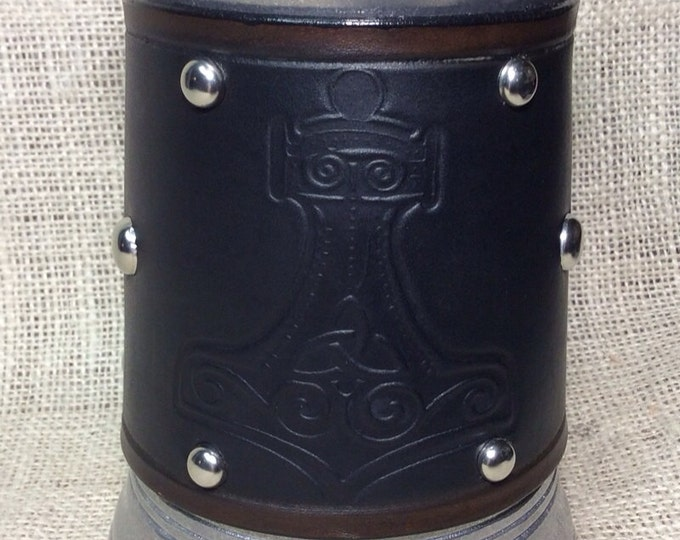 Leather Metal 36 oz tankard mug Viking Norse Thor's Hammer Thor beer ale Scottish Irish celtic
