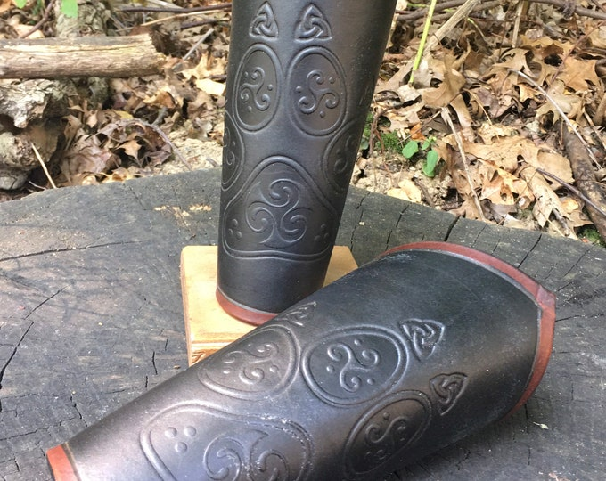 Celtic wolf paw Leather Bracers