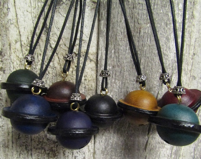 Handmade Leather bell necklace