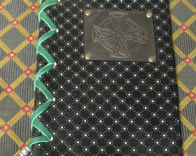 leather laced journal with celtic cross design