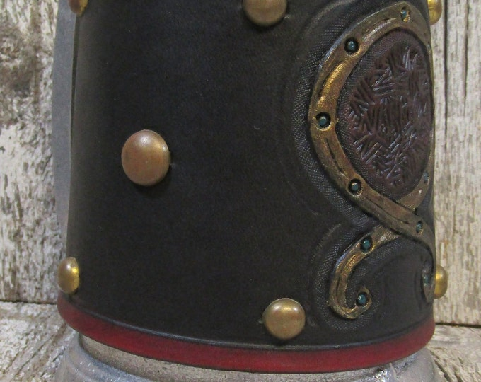 Hand tooled leather covered 16 oz tankard Norse troll cross