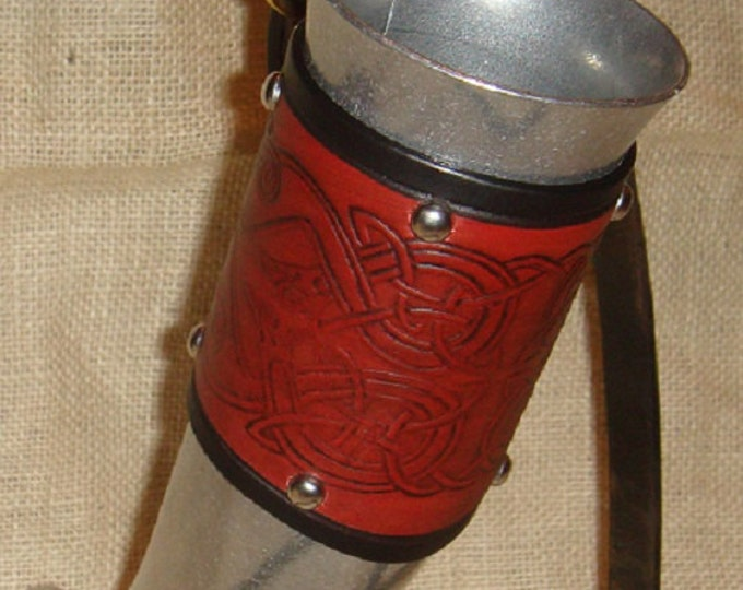 Celtic knotwork aluminum alloy metal leather drinking horn Irish Birds SCA Viking norse renaissance scottish